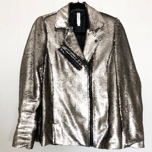 Mural sequin bomber moto jacket size medium